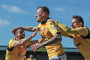 David Wheater (Captain) (Bolton Wanderers) celebrates scoring Bolton Wanderers' first goal of the game to make it 1-0 to the visitors during the EFL Sky Bet League 1 match between Port Vale and Bolton Wanderers at Vale Park, Burslem, England on 22 April 2017. Photo by Mark P Doherty.