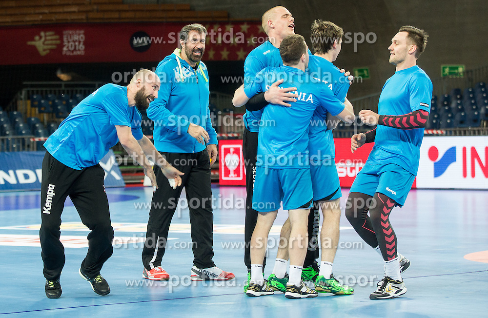 Vid Kavticnik of Slovenia, Veselin Vujovic, head coach of Slovenia, Matej Gaber of Slovenia, Miha Zarabec of Slovenia, Sebastijan Skube of Slovenia and Luka Zvizej of Slovenia during practice session of Team Slovenia on Day 1 of Men's EHF EURO 2016, on January 15, 2016 in Centennial Hall, Wroclaw, Poland. Photo by Vid Ponikvar / Sportida