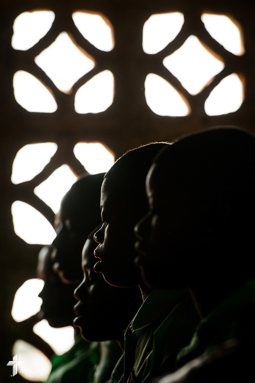 Youth choir members sing during worship at the Lutheran Church of Togo in Mire on Sunday, Feb. 12, 2017, in Mire, Togo. LCMS Communications/Erik M. Lunsford