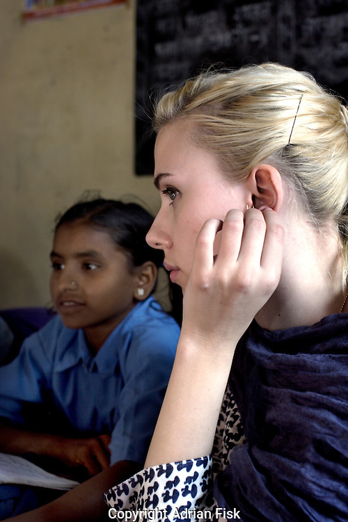 Scarlett listens in on a class in the Purvaiachal dalit Balika school in Ghazipur district.