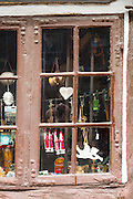 Window of shop in Nedergade in Odense on Funen Island, Denmark