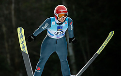 Katharina Althaus of Germany soaring through the air during 1st Round at Day 1 of World Cup Ski Jumping Ladies Ljubno 2019, on February 8, 2019 in Ljubno ob Savinji, Slovenia. Photo by Matic Ritonja / Sportida