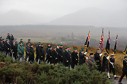 Veterans march at a Remembrance Sunday service at the Commando Memorial near Fort William, held in tribute for members of the armed forces who have died in major conflicts.