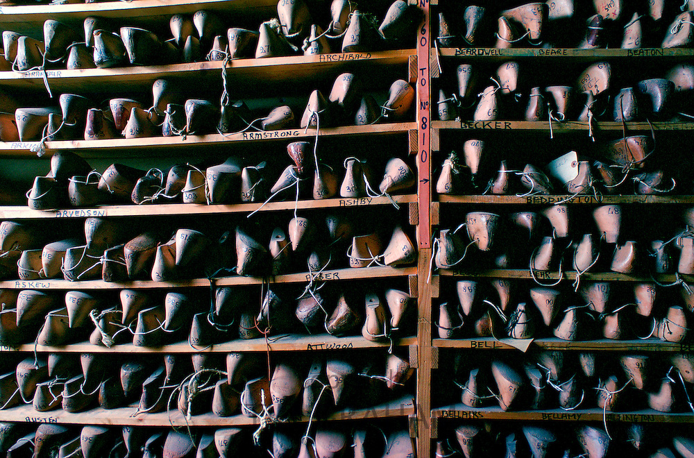 "A close-up of the wooden lasts stored in the ""last"" room at Lobb the Bootmakers, high class cobblers in St.James's, London"