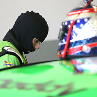Danica Patrick, driver of the #7 GoDaddy Chevrolet readies herself in the garage area during practice for the 60th Annual NASCAR Daytona 500 auto race at Daytona International Speedway on Friday, February 16, 2018 in Daytona Beach, Florida.  (Alex Menendez via AP)