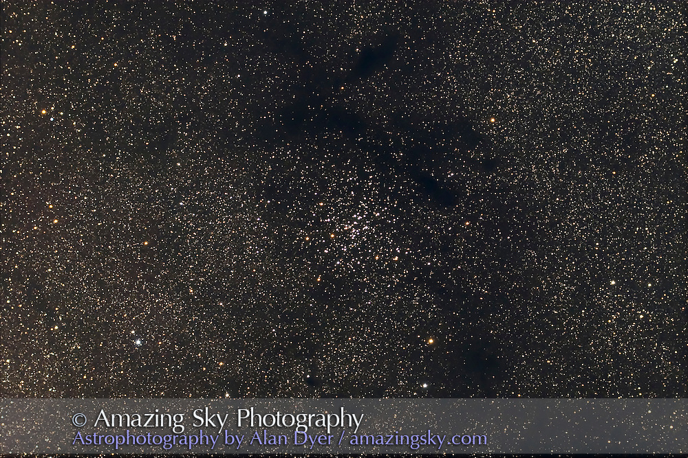 NGC 6124 open cluster in Scorpius. Dark nebulas are not plotted or labeled on MSA. Taken with 4-inch AP Traveler apo refractor at f/4.5 with Canon 20Da camera at ISO 800 for stack of 3 x 4 minute exposures. Taken from Coonabarabran, NSW, March 28, 2007.