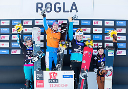 Second placed Ina Meschik of Austria, winner Marion Kreiner of Austria, third placed Selina Joerg of Germany and fourth placed Tomoka Takeuchi of Japan during flower ceremony after the Ladies's Parallel Giant Slalom at FIS Snowboard World Cup Rogla 2015, on January 31, 2015 in Course Jasa, Rogla, Slovenia. Photo by Vid Ponikvar / Sportida
