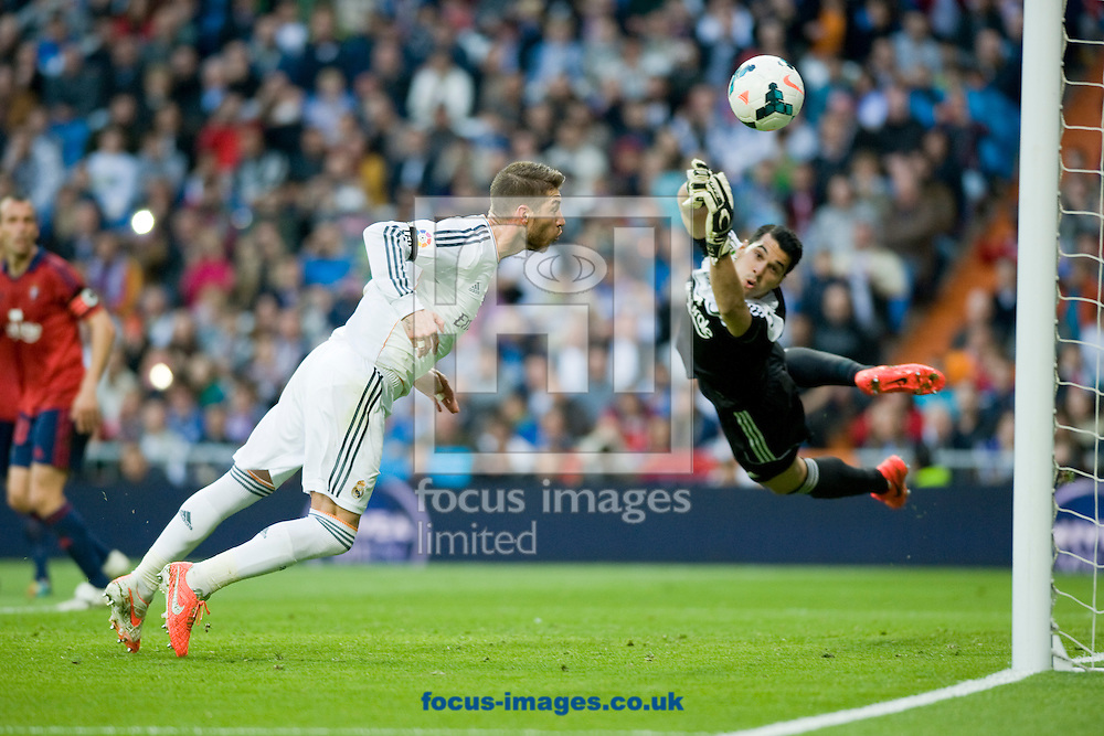 Sergio Ramos of Real Madrid and Andres Fernandez, goalkeeper of Osasuna during the La Liga match at the Estadio Santiago Bernabeu, Madrid<br /> Picture by Marcos Calvo Mesa/Focus Images Ltd +34 654142934<br /> 26/04/2014