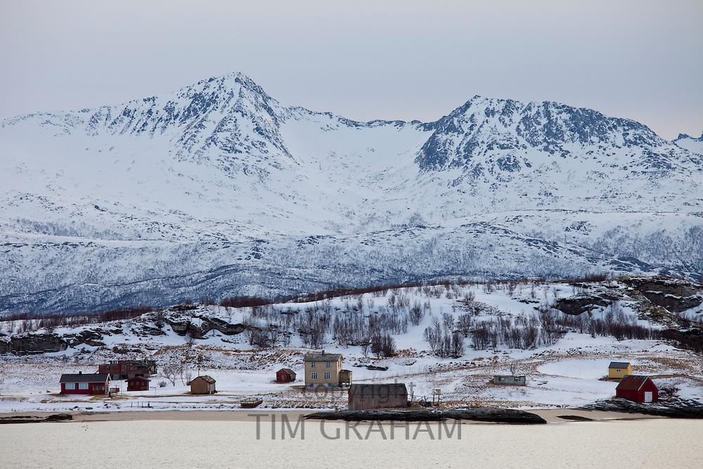 Hamlet on Kvaloya Island near Sommeroy in Arctic Circle Northern Norway