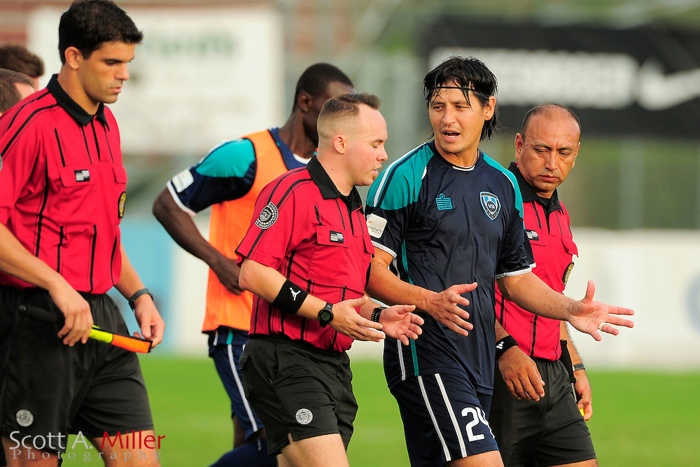 VSI Tampa Bay FC defender Josh Rife (24) talks with the referee during VSI's game against the Phoenix FC Wolves in a USL Pro soccer match at Plant City stadium in Plant City, Florida on June 9, 2013.<br /> <br /> &copy;2013 Scott A. Miller