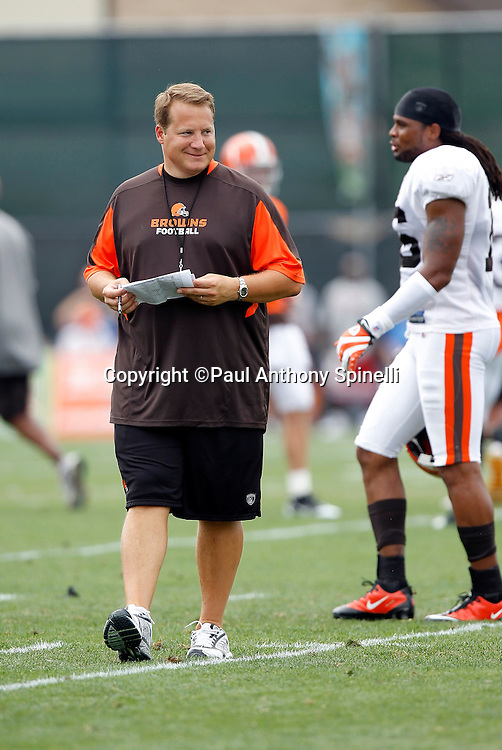 Cleveland Browns Head Coach Eric Mangini walks the field during NFL football training camp at the Cleveland Browns Training Complex on Monday, August 9, 2010 in Berea, Ohio. (©Paul Anthony Spinelli)