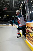 KELOWNA, CANADA - FEBRUARY 23:  Nolan Foote #29 of the Kelowna Rockets enters the ice against the Kamloops Blazers on February 23, 2019 at Prospera Place in Kelowna, British Columbia, Canada.  (Photo by Marissa Baecker/Shoot the Breeze)