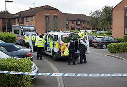 © Licensed to London News Pictures. 18/09/2017. London, UK. Police guard a property in Stanwell, west London, where it is reported that terror suspect Yahyah Farroukh lived. Investigations are continuing into the failed bombing of an underground train at Parsons Green station on September 15, 2017. Detectives have searched three properties and have two people in custody. Photo credit: Peter Macdiarmid/LNP