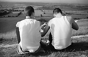 Symond and Gavin Sat on Hill, UK, 1980's