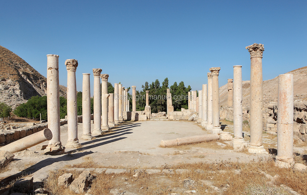 Roman temple and Byzantine church at Pella, Jordan. Pella has been occupied since Neolithic times, and many Hellenistic and Roman ruined structures remain on the site. The Byzantine civic complex church was built on an earlier Roman civic complex in the 5th century. The columns are arranged around a rectangular hall. Picture by Manuel Cohen