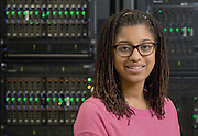 Portrait of Payge Winfield in the OIT data center for McClure School of Information and Telecommunications targeted recruitment brochure. Photo by Lauren Pond
