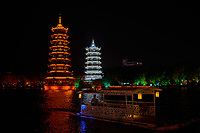 Guillin , China - September 30, 2014 :chinese towers pagodas of Guilin in Guangxi province  China