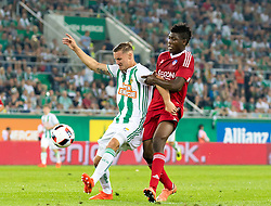 25.08.2016, Allianz Stadion, Wien, AUT, UEFA EL, SK Rapid Wien vs FK AS Trencin, Play off, Rueckspiel, im Bild Mario Pavelic (SK Rapid Wien), Aliko Bala (FK AS Trencin)// during the UEFA Europa League Play off 2nd Leg Match between SK Rapid Wien and FK AS Trencin at the Allianz Stadion, Vienna, Austria on 2016/08/25. EXPA Pictures © 2016, PhotoCredit: EXPA/ Sebastian Pucher