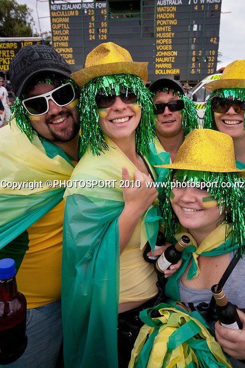 Australian fans in the crowd during the third one day Chappell Hadlee cricket series match between New Zealand Black Caps and Australia at Seddon Park, won by Australia by 6 wickets in Hamilton, New Zealand. Tuesday 9 March 2010. Photo: Stephen Barker/PHOTOSPORT