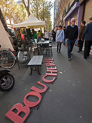 outdoor weekend antiques market on streets  of Paris France