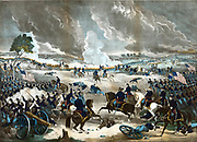 American Civil War 1861-1865: Battle of Gettysburg 1-3 July 1863, ending Lee's invasion of the North.  Union infantry advancing from the right. Print of 1867. Fighting Action Soldier Flag Weapon Rifle Bayonet Field Gun Fire Smoke