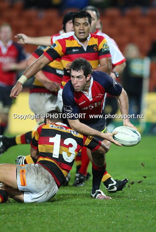 Tasman's Glen Gregory is tackled by Waikato's Jackson Willison. Air New Zealand Cup. Waikato v Tasman. Waikato Stadium, Hamilton. Friday 08 August 2008. Photo: Simon Watts/PHOTOSPORT