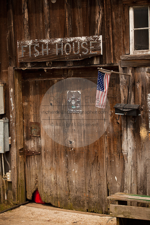 An old shrimp boat house on the docks in Georgetown, SC.