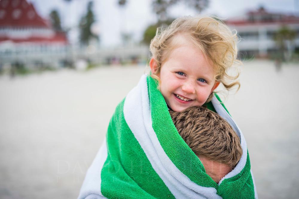 Family on Coronado Beach, San Diego, California