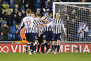 Millwall players celebrating after Millwall defender Shaun Cummins (2) scoring 2-0 during the The FA Cup 3rd round match between Millwall and Bournemouth at The Den, London, England on 7 January 2017. Photo by Matthew Redman.