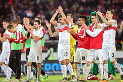 30.12.2015, Mercedes Benz Arena, Stuttgart, GER, 1. FBL, VfB Stuttgart vs Hamburger SV, 19. Runde, im Bild Lukas Rupp (VfB Stuttgart) Artem Kravets (VfB Stuttgart) Przemyslaw Tyton (VfB Stuttgart) Daniel Didavi (VfB Stuttgart) Filip Kostic (VfB Stuttgart) Toni Sunjic (VfB Stuttgart) feiern den Sieg // during the German Bundesliga 19th round match between VfB Stuttgart and Hamburger SV at the Mercedes Benz Arena in Stuttgart, Germany on 2015/12/30. EXPA Pictures © 2016, PhotoCredit: EXPA/ Eibner-Pressefoto/ Langer<br /> <br /> *****ATTENTION - OUT of GER*****