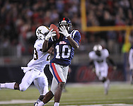 Ole Miss wide receiver Vince Sanders (10) vs. Vanderbilt defensive back Andre Hal (23) at Vaught-Hemingway Stadium in Oxford, Miss. on Saturday, November 10, 2012.