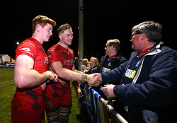 Jack Tovey and Joe Joyce of Bristol Rugby thank fans for their attendance at Nottingham Rugby - Mandatory by-line: Robbie Stephenson/JMP - 06/04/2018 - RUGBY - The Bay - Nottingham, England - Nottingham Rugby v Bristol Rugby - Greene King IPA Championship