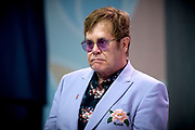 Zanger Elton John en de Britse prins Harry tijdens een sessie op het AIDS2018 congres over het werk van de Elton John Aids Foundation.<br /> <br /> Singer Elton John and the British Prince Harry during a session at the AIDS2018 congress about the work of the Elton John Aids Foundation.<br /> <br /> Op de foto:  Elton John