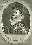 John Hawkins (1532-1595) English naval commander and navigator. First Englishman to traffic in slaves (1562). As Treasurer to the Navy (1573) reorganised the fleet to confront the Spanish Armada.  Engraving by Michiel van der Gucht (1660-1725) for Clarendon's 'History'.