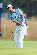 Jack Singh Brar (ENG) plays his second shot to the 14th green during the final round of the Aberdeen Standard Investments Scottish Open at The Renaissance Club, North Berwick, Scotland on 14 July 2019.