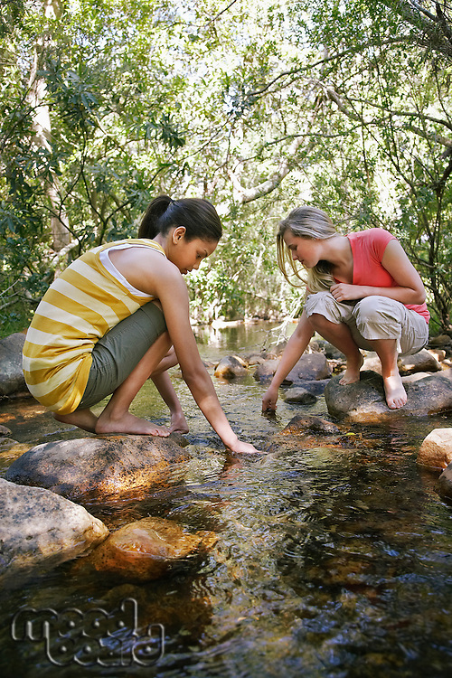 Young Girls Sticking Hands in Creek