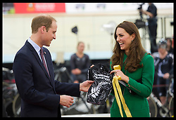 The Duke and Duchess of Cambridge open the National Cycling of Excellence Velodrome in Hamilton, New Zealand. Friday, 11th April 2014. Picture by  i-Images.