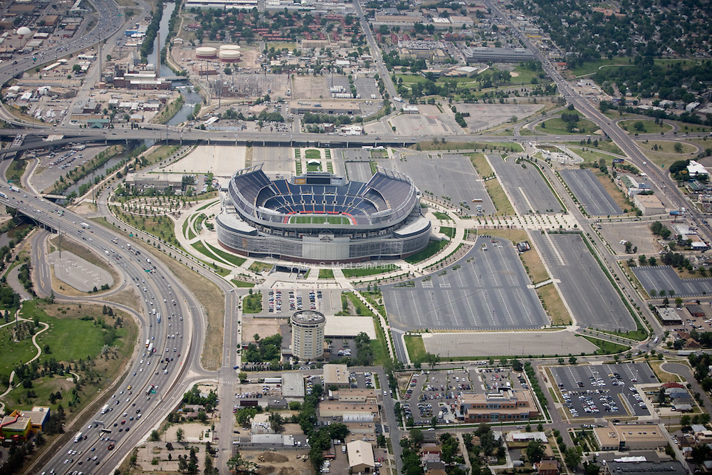 Invesco Field and surrounding parking