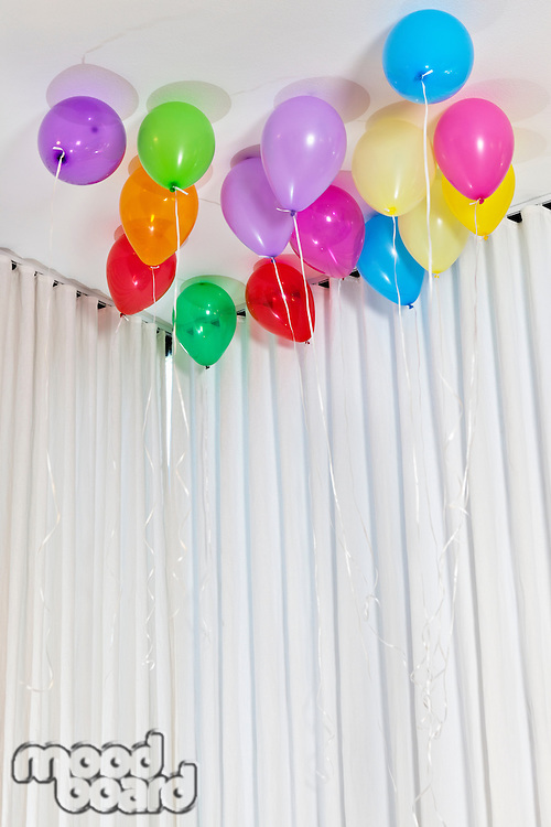 Group of multicolored helium party balloons