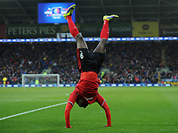Football - 2013 / 2014 Premier League - Cardiff City vs. Norwich City<br /> Kenwyne Jones of Cardiff City celebrates scoring their second goal to take the score to 2-1 at the Cardiff City Stadium