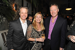 Left to right, MARTIN WALLER, KIT KEMP and RORY BREMNER at the Andrew Martin 2008 International Interior Designer of the Year Award held at The Haymarket Hotel, 1 Suffolk Place, London SW1 on 22nd September 2008.