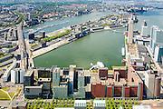 Nederland, Zuid-Holland, Rotterdam, 10-06-2015; Kop van Zuid met in de voorgrond Entrepot en Laan op Zuid, gezien naar de Rijnhaven. Links Katendrecht, bijgenaamd De Kaap. Rechts  Wilhelminakade. <br /> Kop van Zuid - Head of South, newly developed former port quarter.<br /> luchtfoto (toeslag op standard tarieven);<br /> aerial photo (additional fee required);<br /> copyright foto/photo Siebe Swart