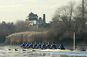 """Putney; Great Britain; Shirts, racing along Chiswick Eyot, during the Oxford University Trial Eights; """"between """"""""Shirts and Skins"""". Shirts who went on the win the trial over the championship course Putney to Mortlake. 12/12/2007 [Mandatory Credit Peter Spurrier/Intersport Images]..OUBC Crews:.Shirts, Bow Robin EJSMOND-FREY, 2. Martin WALSH, 3. Ben SMITH, 4. Oliver MOORE, 5. Andrew WRIGHT, 6. Aaron MARCOVY, 7. Charles COLE, stroke Justin STANGEL and Cox Colin GROSHONG...Skins: Bow Paul KELLY, 2. James SOANE, 3. Michal PLOTKOWIAK, 4. Chris MORRIS, 5. Michael WHERLEY 6. Toby MEDARIS, 7.Jan HERZOG, stroke Will ENGLAND and cox Nick BRODIE,.. Varsity Boat Race, Rowing Course: River Thames, Championship course, Putney to Mortlake 4.25 Miles,"""