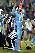 Tennessee Titans inside linebacker Avery Williamson (54) signals fourth down as the officials measure for a first down late in the fourth quarter during the 2015 week 11 regular season NFL football game against the Jacksonville Jaguars on Thursday, Nov. 19, 2015 in Jacksonville, Fla. The Jaguars won the game 19-13. (©Paul Anthony Spinelli)