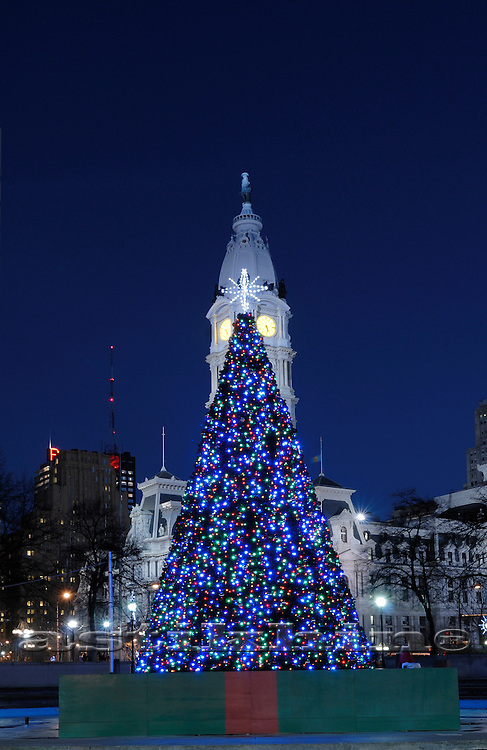 Christmas Tree and Philadelphia City Hall