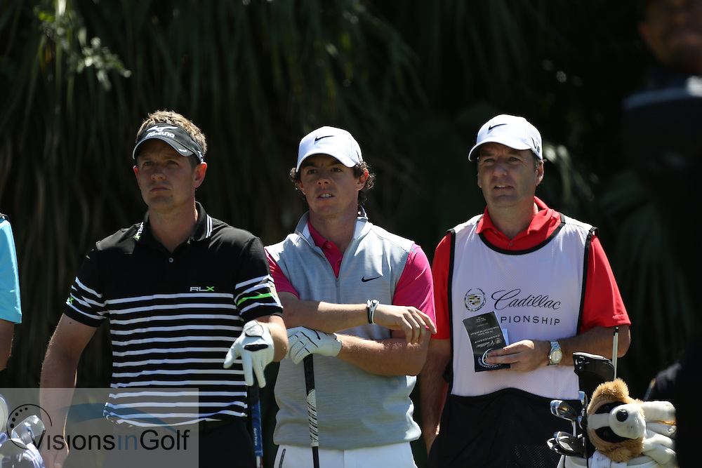 Luke Donald Rory McIlroy<br /> at the Cadillac WGC Doral, Miami, USA<br /> March 2013<br /> Picture Credit:  Mark Newcombe / www.visionsingolf.com
