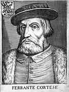 Hernando Cortez or Cortes (1485-1547) Spanish conquistador who conquered Mexico. Copperplate engraving.