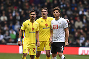 MK Dons defender George Baldock, MK Dons midfielder Darren Potter   and Derby County striker Chris Martin during the Sky Bet Championship match between Derby County and Milton Keynes Dons at the iPro Stadium, Derby, England on 13 February 2016. Photo by Jon Hobley.