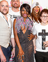 (EXCLUSIVE PICTURES) Sinitta bares breast at LGBT+ talent Awards at the Charing Cross Theatre in London, UK. 15/05/2016<br />