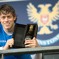 St Johnstone midfielder Murray Davidson pictured with a bottle of champagne after winning Player of the Year award...16.05.13<br /> Picture by Graeme Hart.<br /> Copyright Perthshire Picture Agency<br /> Tel: 01738 623350  Mobile: 07990 594431